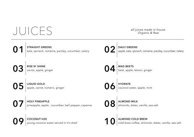 daily harvest juice menu